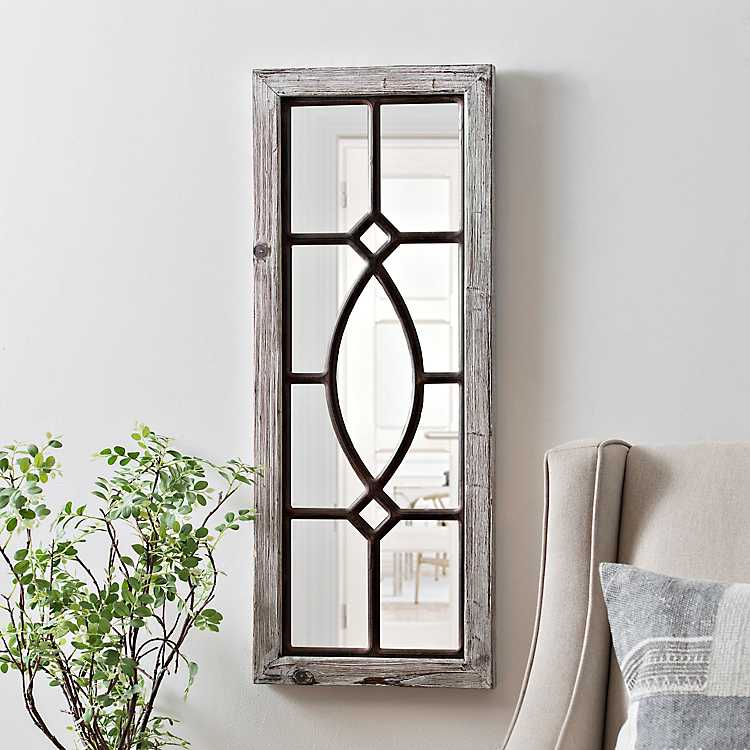 White Distressed Panel Wall Mirror Kirklands