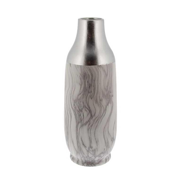 Tall Silver Marble Ceramic Vase Kirklands