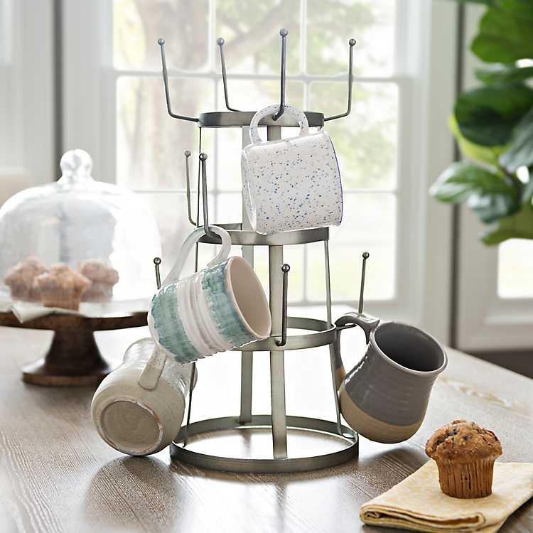 6 Hooks Wood Mug Rack Holder Tree Coffee Cup Storage Stand   Kitchen Office New