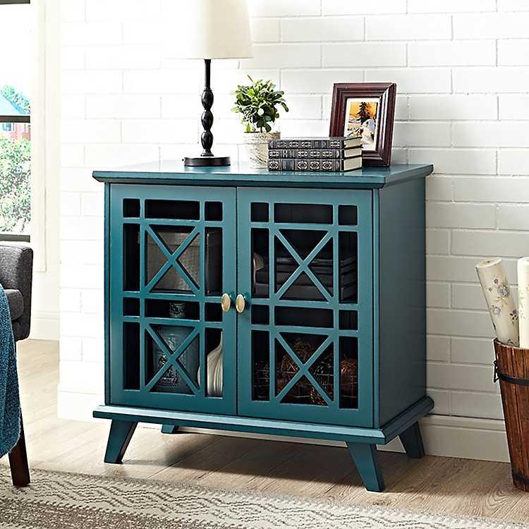Blue Georgia Fretwork 2 Door Accent Cabinet Kirklands