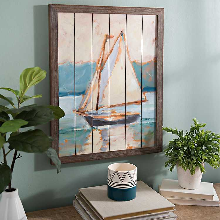 Sailboat On Wood Plank Framed Art Print Kirklands