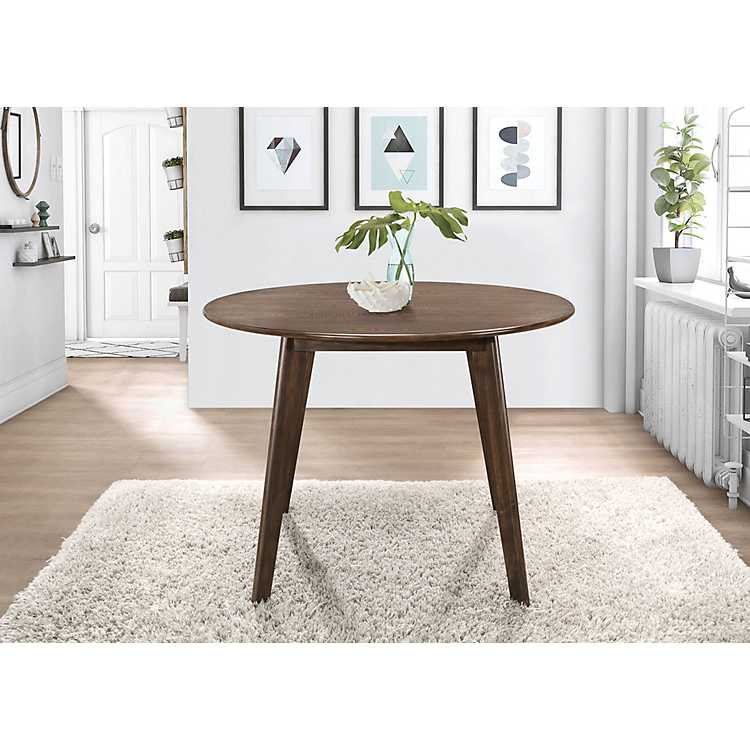 Round Walnut Mid Century Modern Dining Table Kirklands