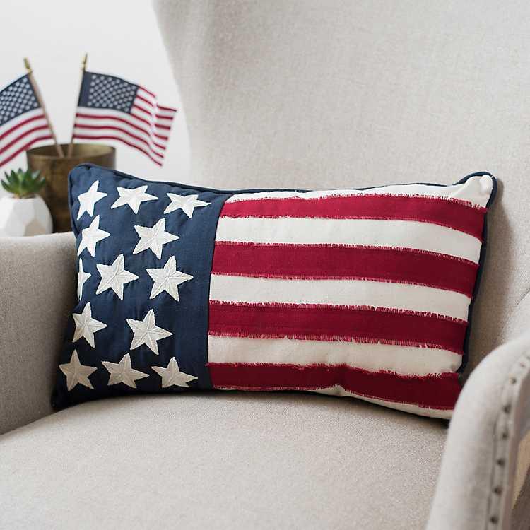 Embroidered Flag Accent Pillow Kirklands