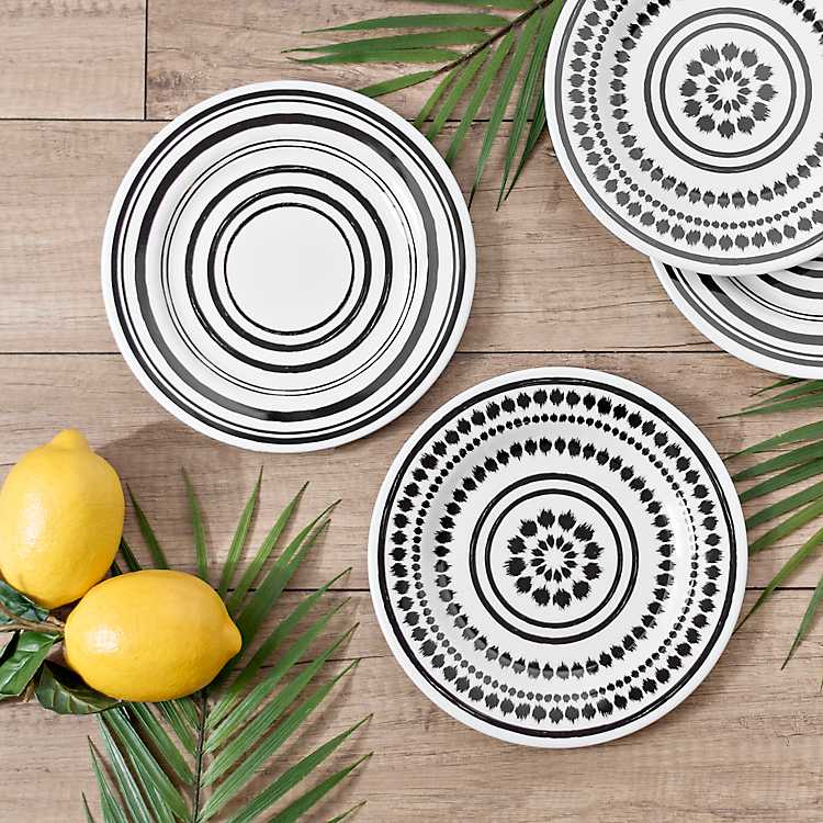 Black And White Art Print Salad Plates Set Of 4 Kirklands