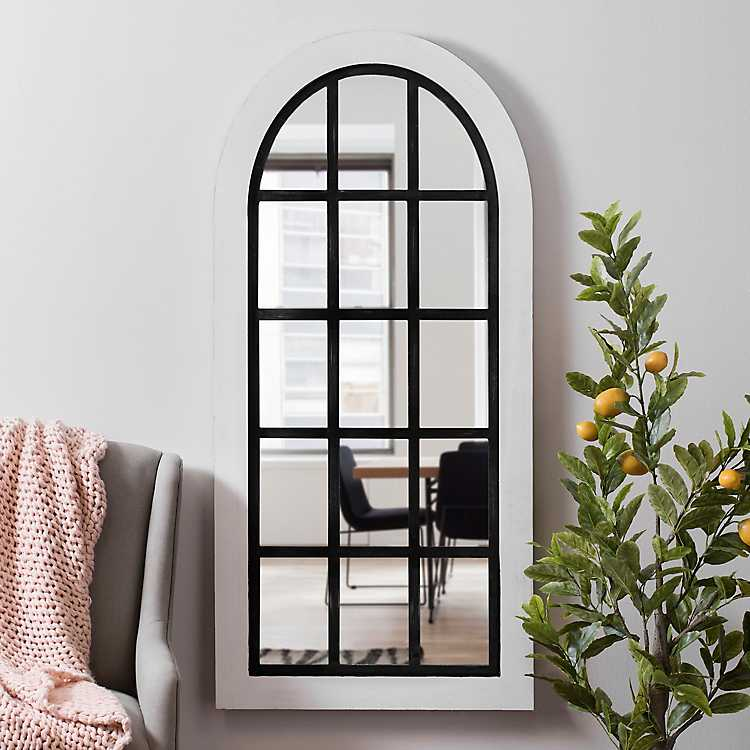 White And Black Wood Windowpane Arch, White Decorative Window Pane Mirror