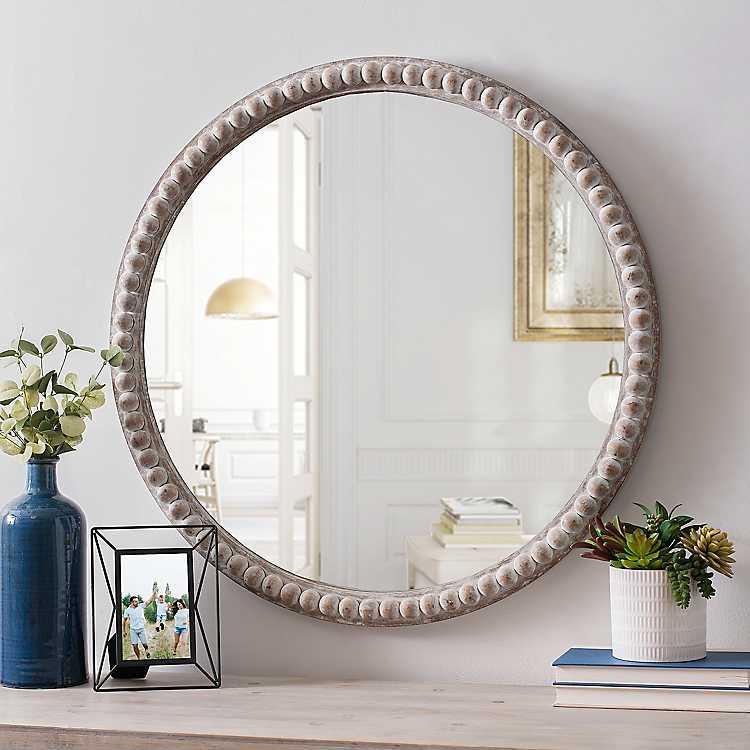 Round Natural Beaded Wall Mirror Kirklands