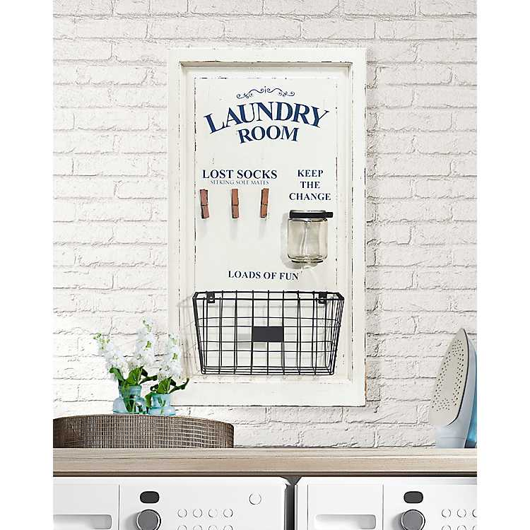 Wood Laundry Sign With Clothespins Glass And Bin Kirklands