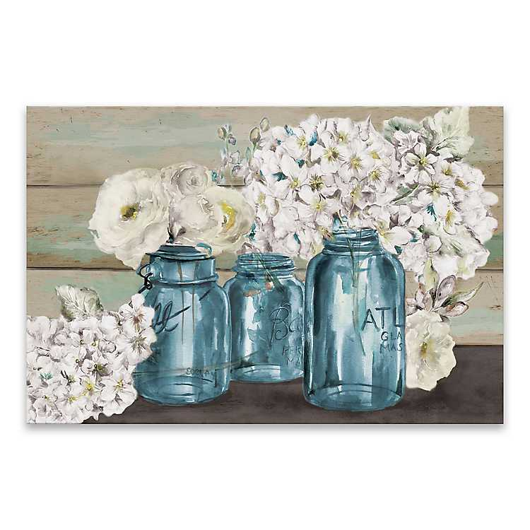 Colorful Flowers In Mason Jar Canvas Art Print Kirklands