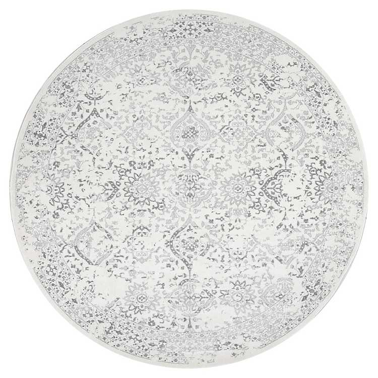 Ivory Odell Round Area Rug 8 Ft, 8 Round Rugs