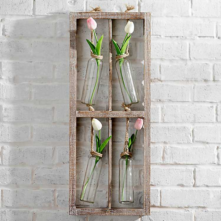 Hanging Quad Bud Vases Wood Wall Plaque Kirklands