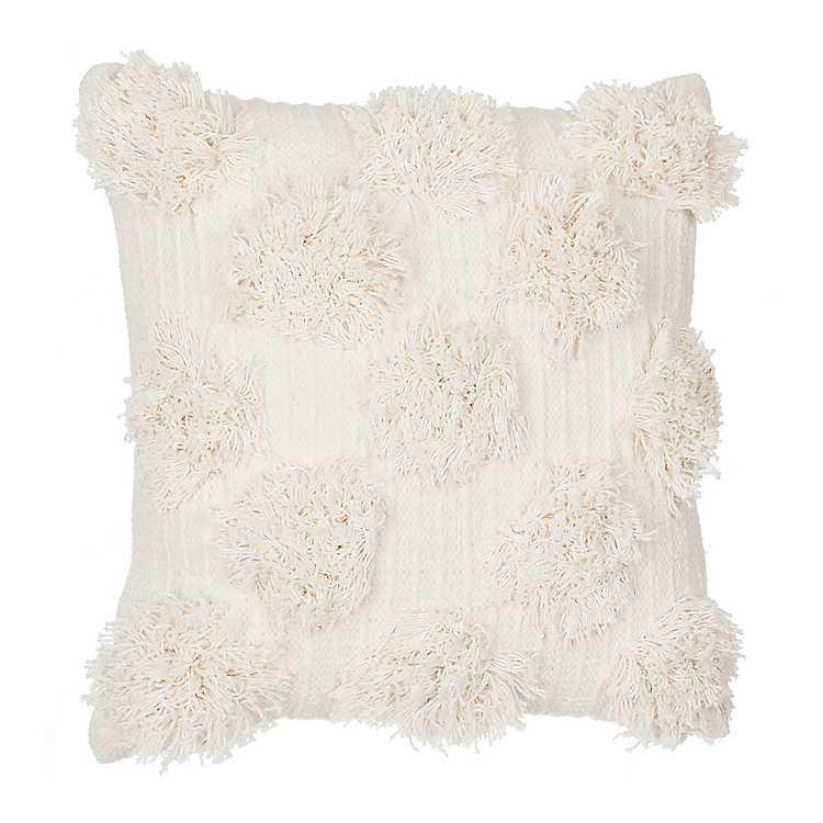 Ivory Shaggy Dot Pillow Kirklands