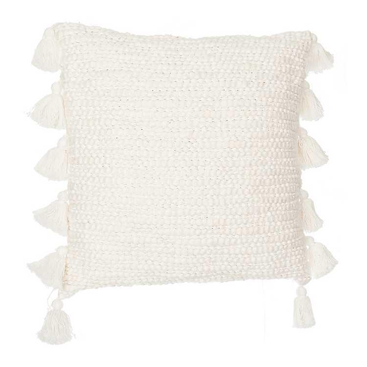 Ivory Cotton Knots Pillow With Tassels Kirklands