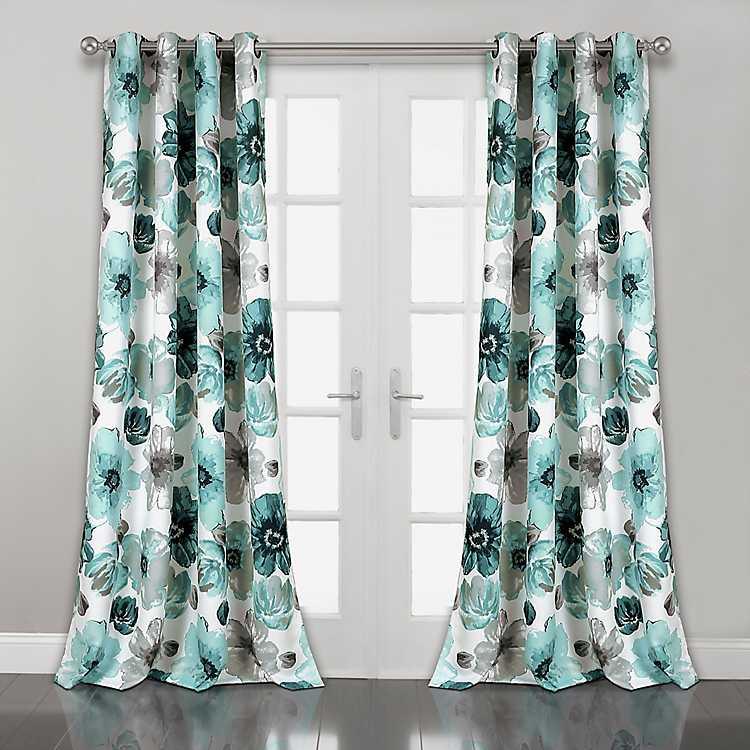 Blue Fl Curtain Panel Set 84 In