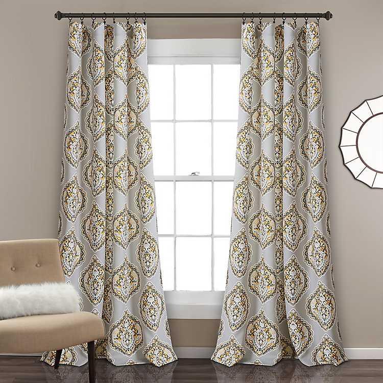 Yellow And Gray Hannah Curtain Panel