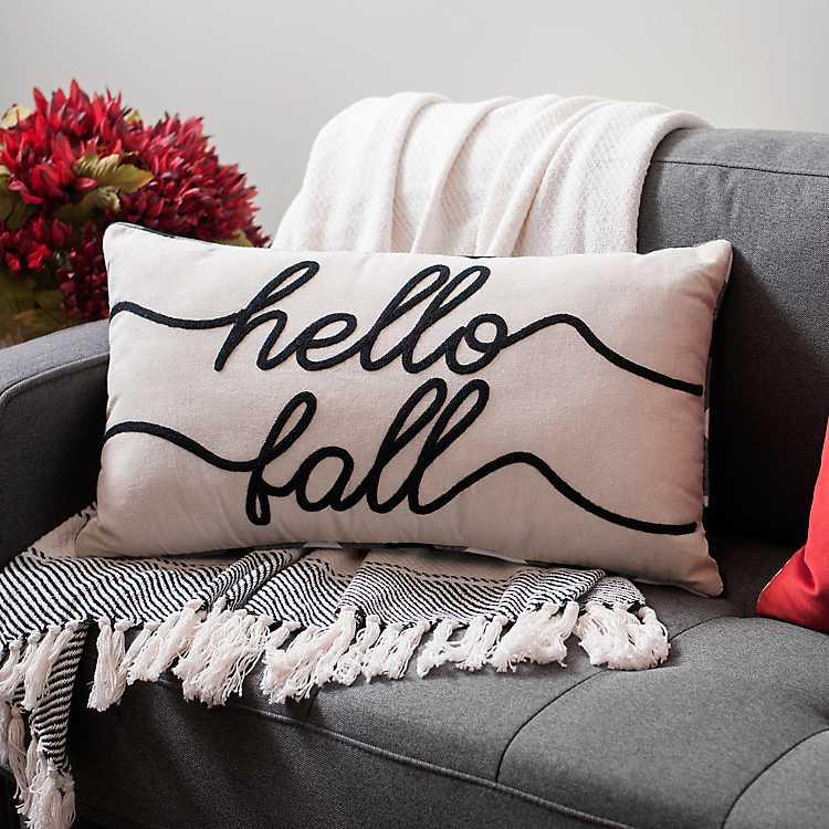 Hello Fall Embroidered Buffalo Check Accent Pillow Kirklands