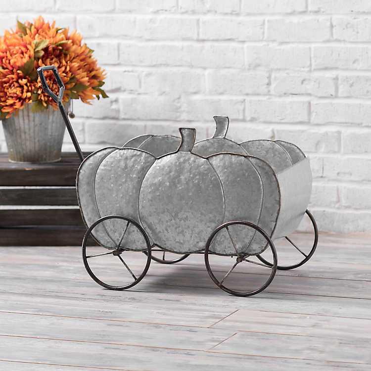 Galvanized Metal Pumpkin Wagon Kirklands