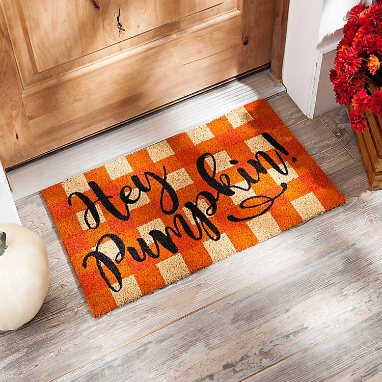 Hey Pumpkin Buffalo Check Doormat Kirklands