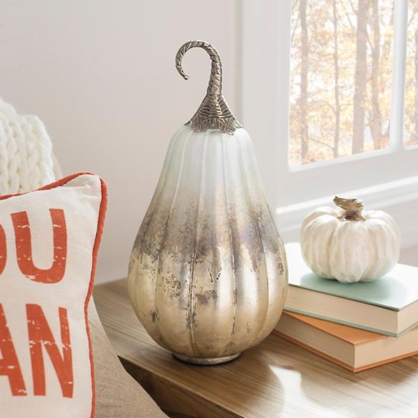 Silver Glass Pumpkin With Metal Stem Kirklands