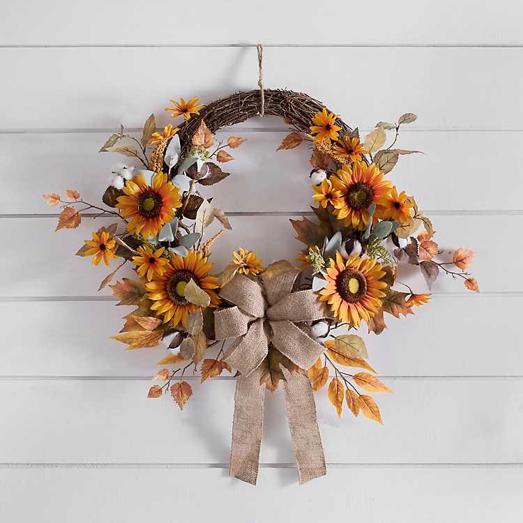 Sunflower Cotton And Burlap Fall Wreath Kirklands