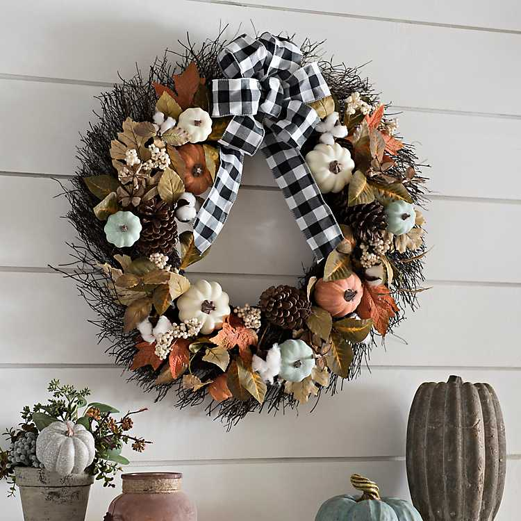 New Pumpkin Wood Sign Buffalo Paid Check Accent Farmhouse Decor Fall Wreath