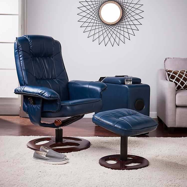 Navy Faux Leather Swivel Recliner with Ottoman