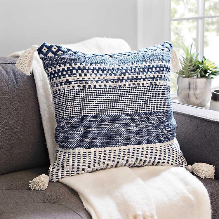 Blue Multi Stitch Tassel Pillow Kirklands