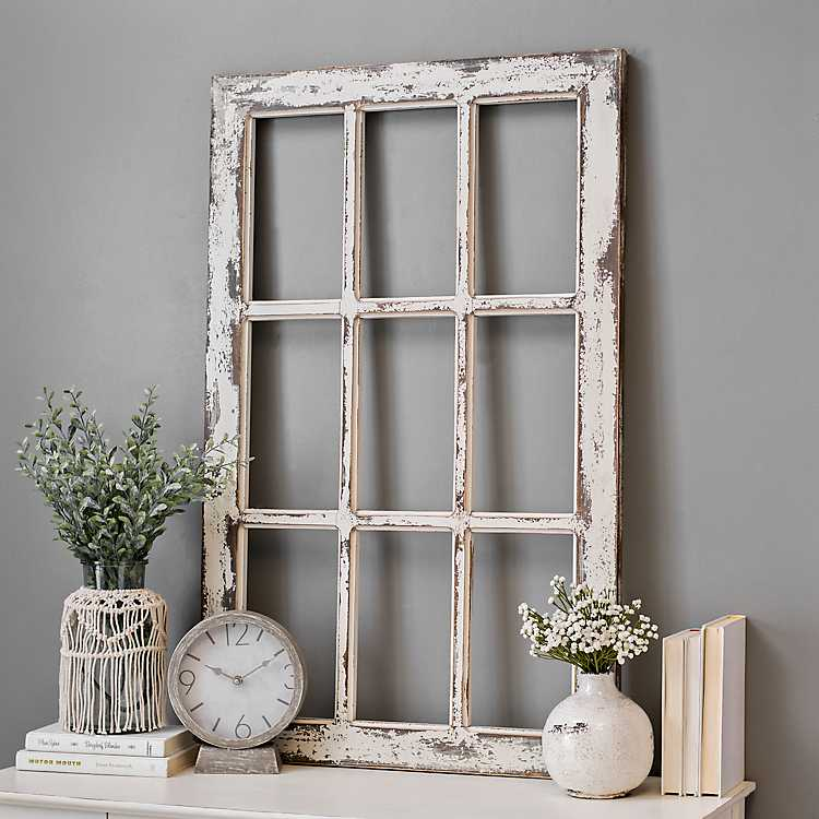 Weathered Rustic Windowpane Wood Wall Plaque Kirklands
