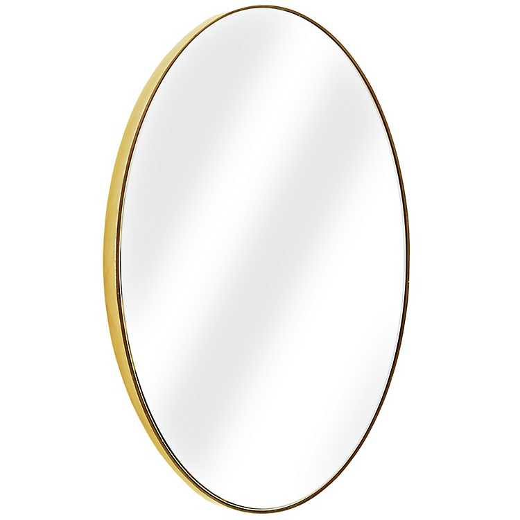 Gold Oval Infinity Frameless Wall, Oval Frameless Bathroom Mirror