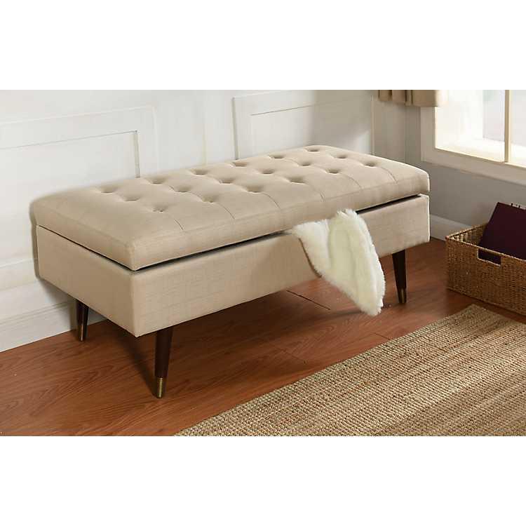 Cream Tufted Storage Bench With, Cream Storage Ottoman