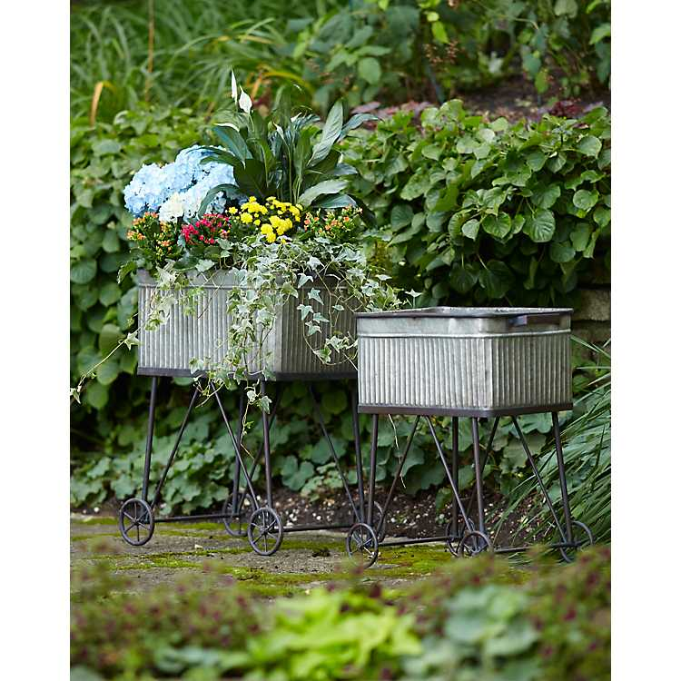 Galvanized Wash Tub Planters With Wheels Set Of 2 Kirklands