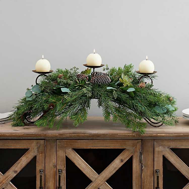 Winter Greenery Candle Centerpiece Kirklands