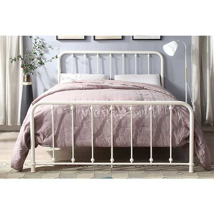 Metal Slat White Queen Platform Bed, Iron Platform Bed Queen
