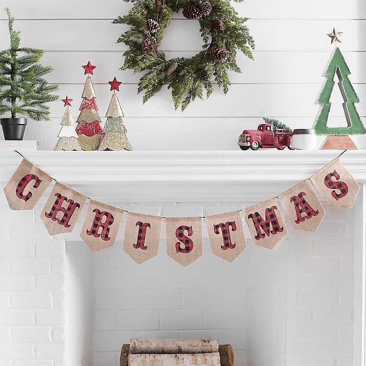 Buffalo plaid Christmas banner