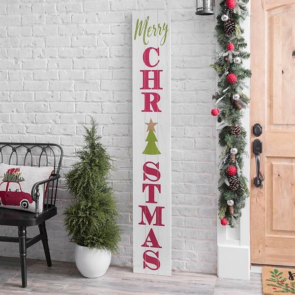 White Merry Christmas Porch Board Kirklands