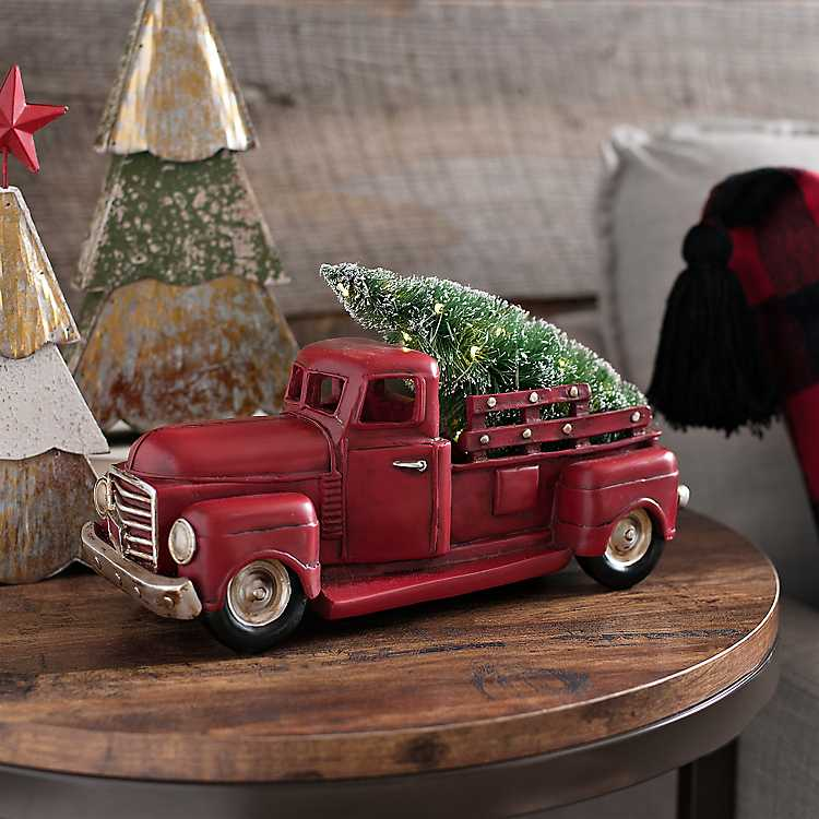Pre Lit Red Christmas Truck With Tree Kirklands