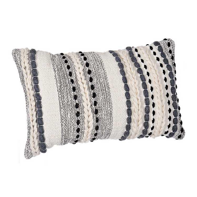 Gray Knots And Braids Wool Accent Pillow Kirklands
