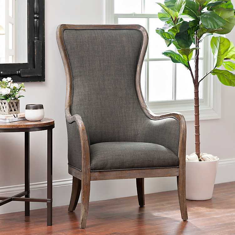 Charcoal High Wing Back Accent Chair | Kirklands