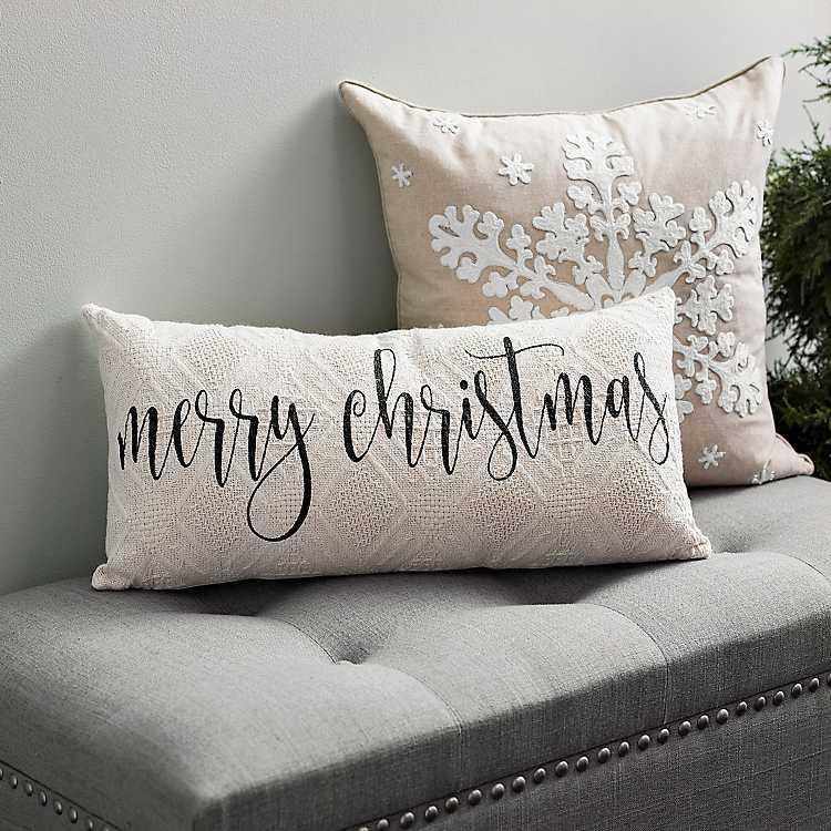 Black Merry Christmas Knit Accent Pillow Kirklands