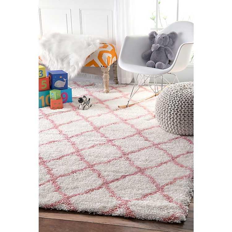 Pink And White Iliza Trellis Area Rug 5x8 Kirklands