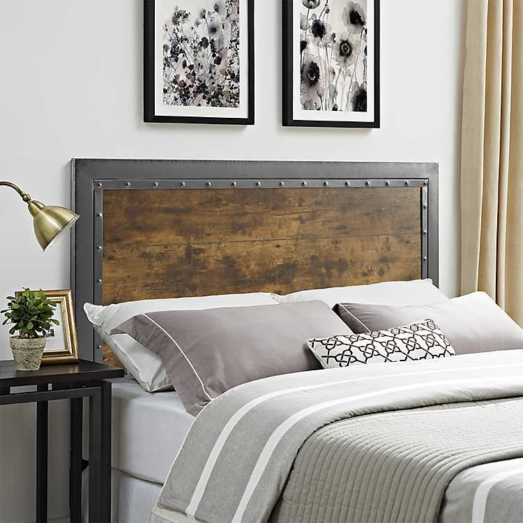 Wood And Metal Panel Queen, Queen Headboard To King Bed Frame