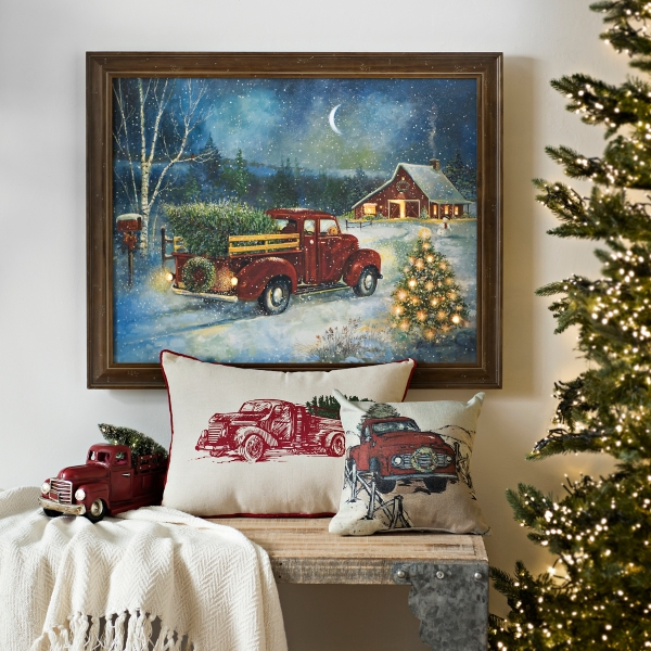 Pre Lit Christmas Cottage Framed Canvas Art Print Kirklands