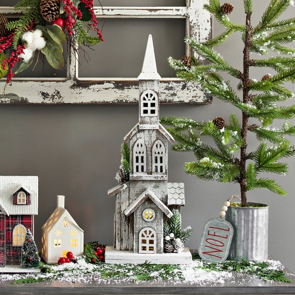 Wooden Christmas Church Led Statue Kirklands