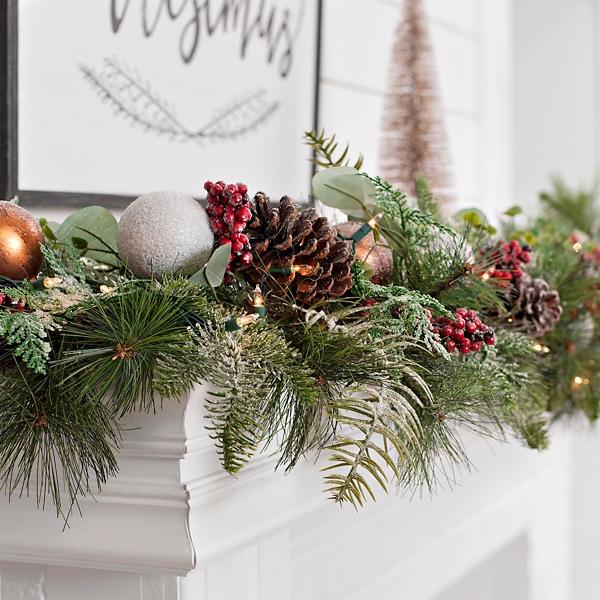 Pre Lit Metallic Ornament Christmas Garland Kirklands