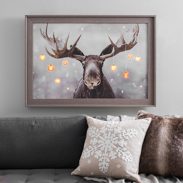 Pre Lit Elmer The Moose Framed Canvas Art Print Kirklands
