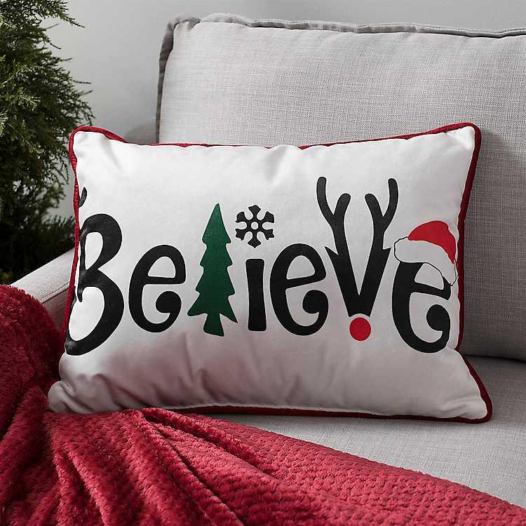Decorative Letter Believe Velvet Accent Pillow Kirklands