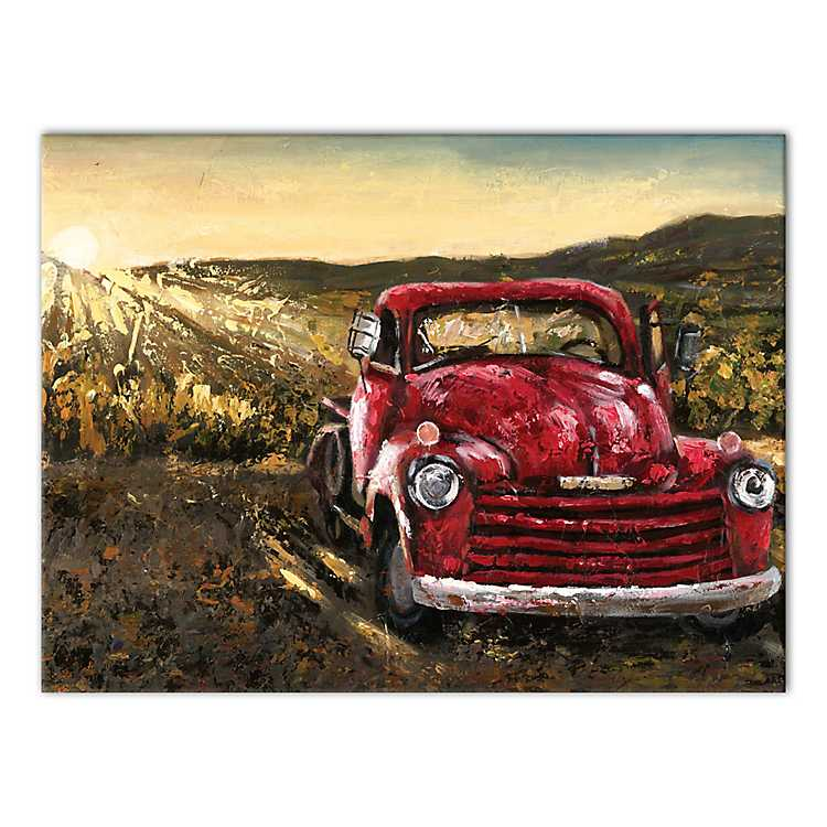 Vintage Sunset Truck Canvas Art Print Kirklands