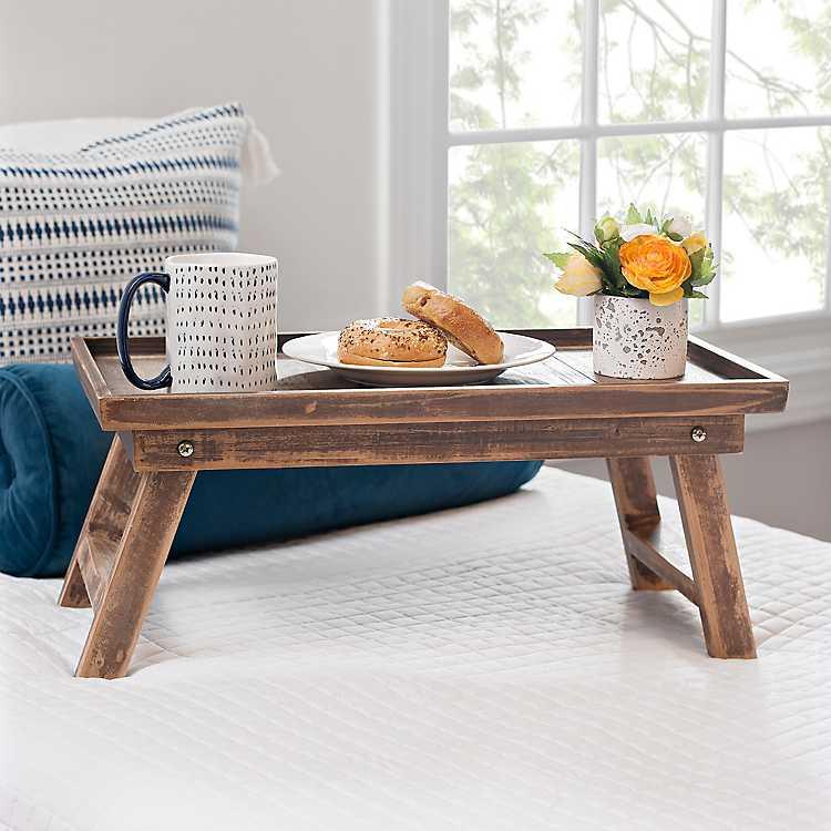 Natural Wood Folding Bed Tray Kirklands