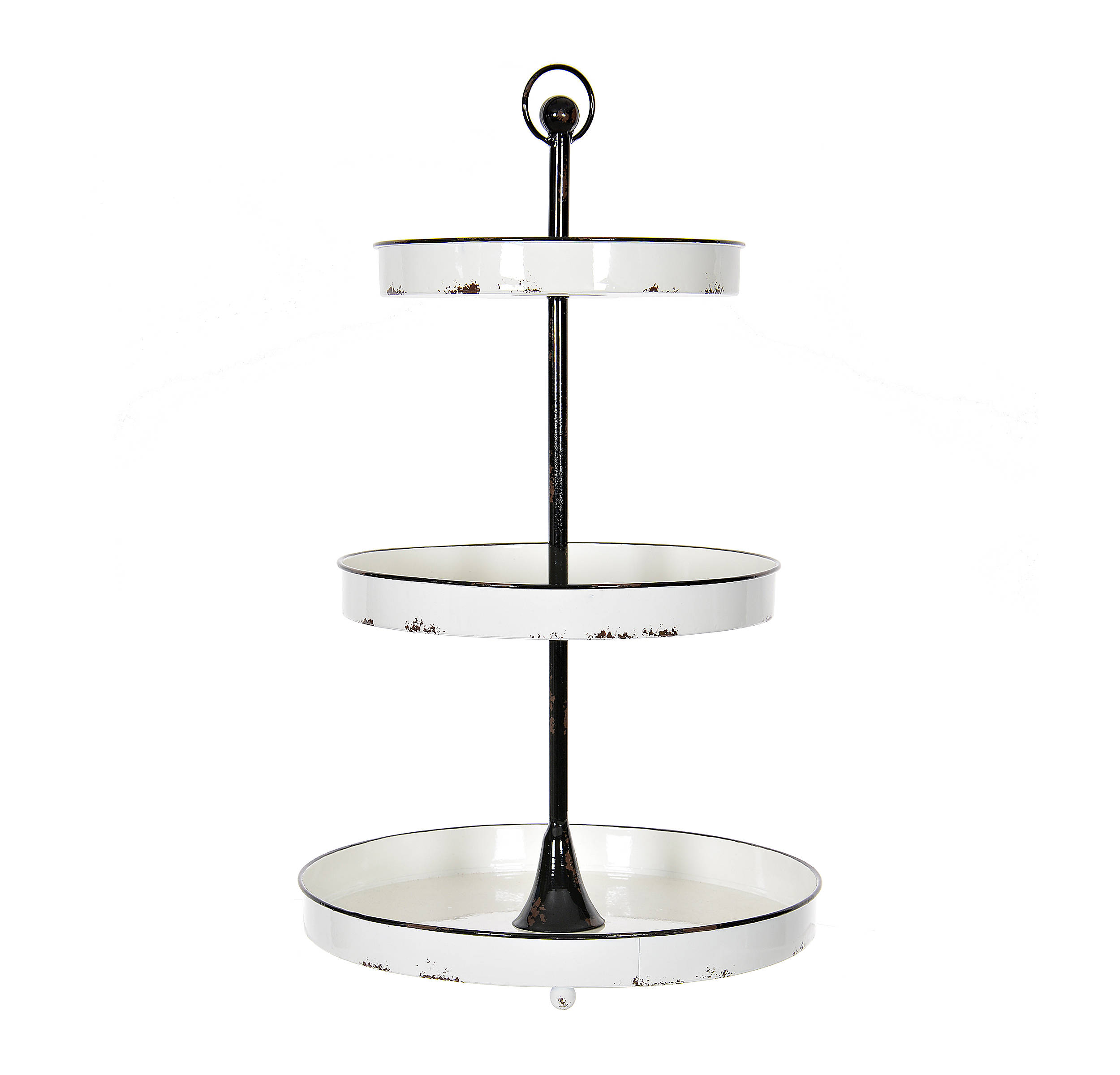 Shop Black and White Round Metal 3-Tier Tray from Kirkland's on Openhaus