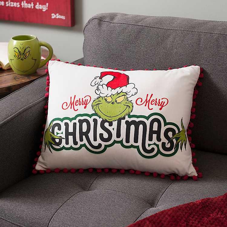 Merry Christmas Grinch Accent Pillow Kirklands