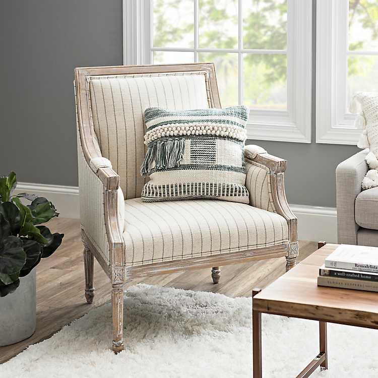 Shop McKenna Gray and Cream Stripe Accent Chair from Kirkland's on Openhaus